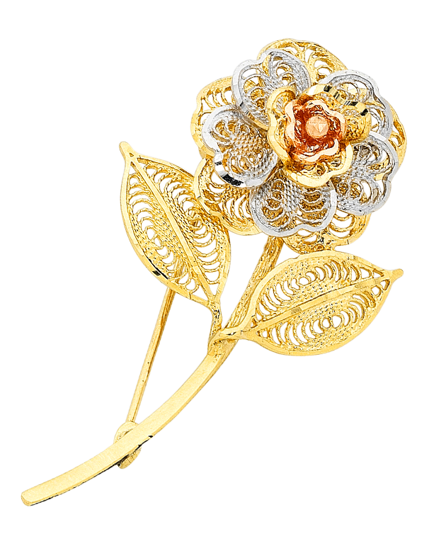 Gold Brooch - 9ct Three Tone Flower Brooch - 470284 - Salera's Melbourne, Victoria and Brisbane, Queensland Australia
