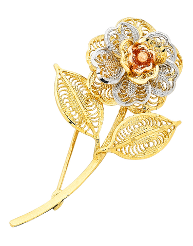 Gold Brooch - 9ct Three Tone Flower Brooch - 470284