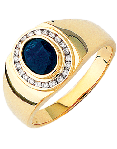 Men's Ring - Yellow Gold Sapphire and Diamond Ring - 640009