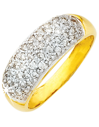 Diamond Ring - Yellow Gold Diamond Ring - 650054