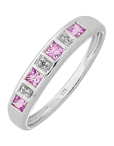 Pink Sapphire Ring - 9ct White Gold Pink Sapphire and Diamond Ring - 650087