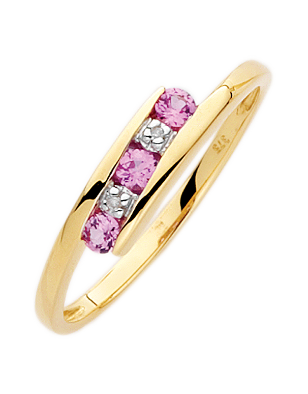 Pink Sapphire Ring - 9ct Yellow Gold Pink Sapphire and Diamond Ring - 650129 - Salera's Melbourne, Victoria and Brisbane, Queensland Australia