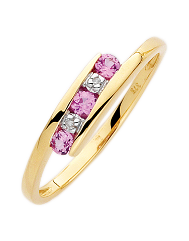 Pink Sapphire Ring - 9ct Yellow Gold Pink Sapphire and Diamond Ring - 650129