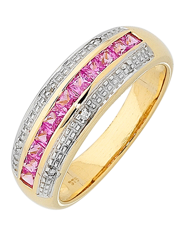Pink Sapphire Ring - 9ct Yellow Gold Pink Sapphire and Diamond Ring - 700775