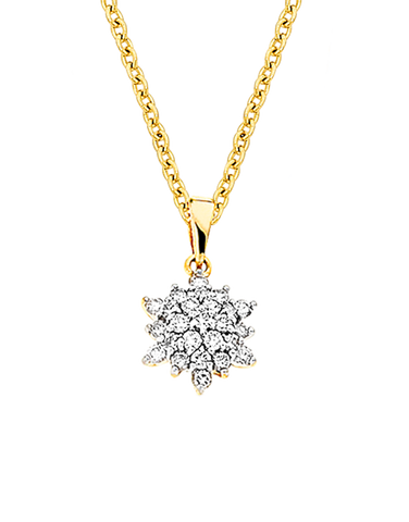 Diamond Pendant - Two Tone Gold Diamond Pendant - 700837