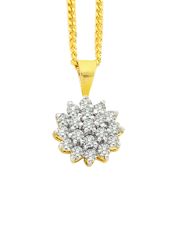 Diamond Pendant - Two Tone Gold Diamond Pendant - 700841 - Salera's Melbourne, Victoria and Brisbane, Queensland Australia