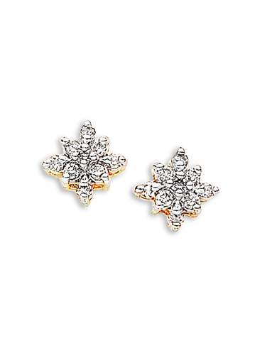 Diamond Earrings - Diamond Set Two Tone Gold Earrings - 700859