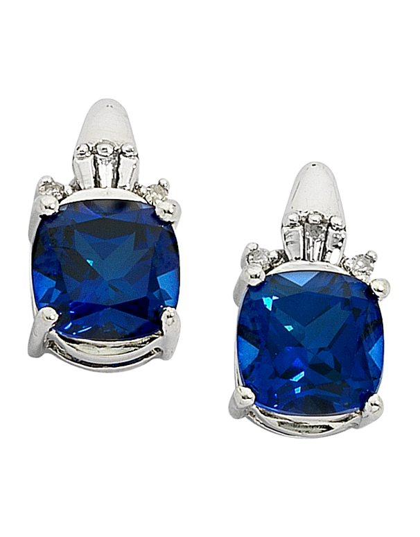 Sapphire Earrings - White Gold Sapphire and Diamond Earrings - 700898 - Salera's Melbourne, Victoria and Brisbane, Queensland Australia