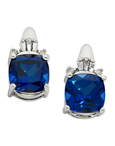 Sapphire Earrings - White Gold Sapphire and Diamond Earrings - 700898