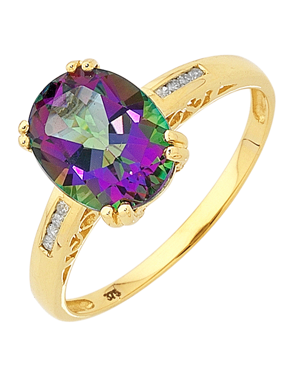 Mystic Topaz Ring - Yellow Gold Mystic Topaz and Diamond Ring - 700963 - Salera's Melbourne, Victoria and Brisbane, Queensland Australia