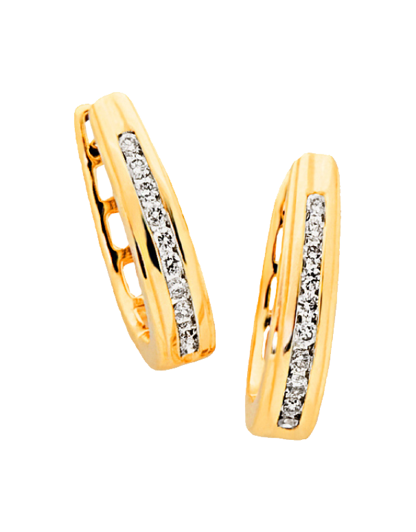 Diamond Earrings - Diamond Set Yellow Gold Hoops - 705011 - Salera's Melbourne, Victoria and Brisbane, Queensland Australia