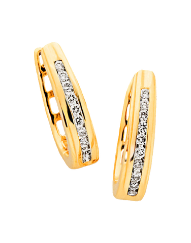 Diamond Earrings - Diamond Set Yellow Gold Hoops - 705011