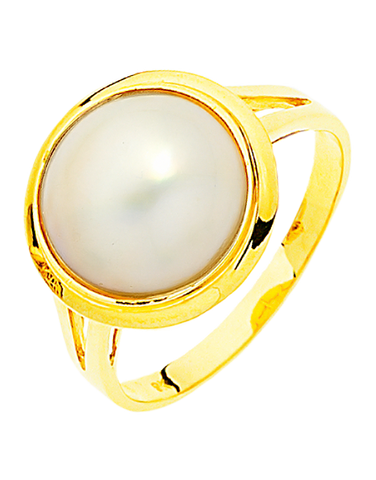 Pearl Ring - Yellow Gold Mabe Pearl Ring - 706138