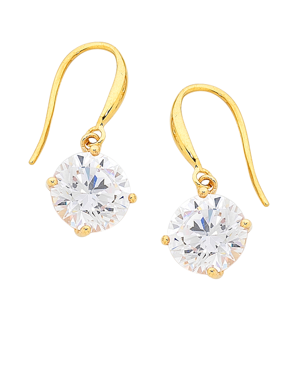 CZ Earrings - 9ct Yellow Gold Cubic Zirconia Drop Earrings - 706141 - Salera's Melbourne, Victoria and Brisbane, Queensland Australia