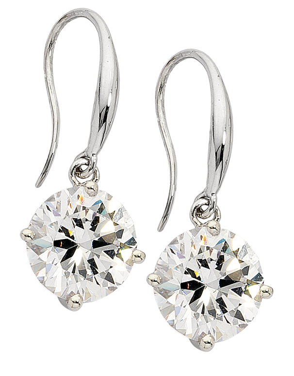 CZ Earrings - 9ct White Gold Cubic Zirconia Drop Earrings - 706142 - Salera's Melbourne, Victoria and Brisbane, Queensland Australia