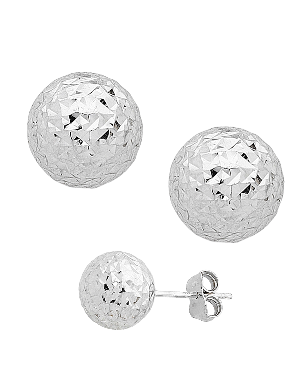 Gold Earrings - 9ct White Gold Ball Stud Earrings - 706361 - Salera's Melbourne, Victoria and Brisbane, Queensland Australia