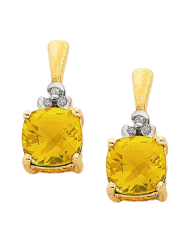 Citrine Earrings - Yellow Gold Citrine and Diamond Earrings - 706463