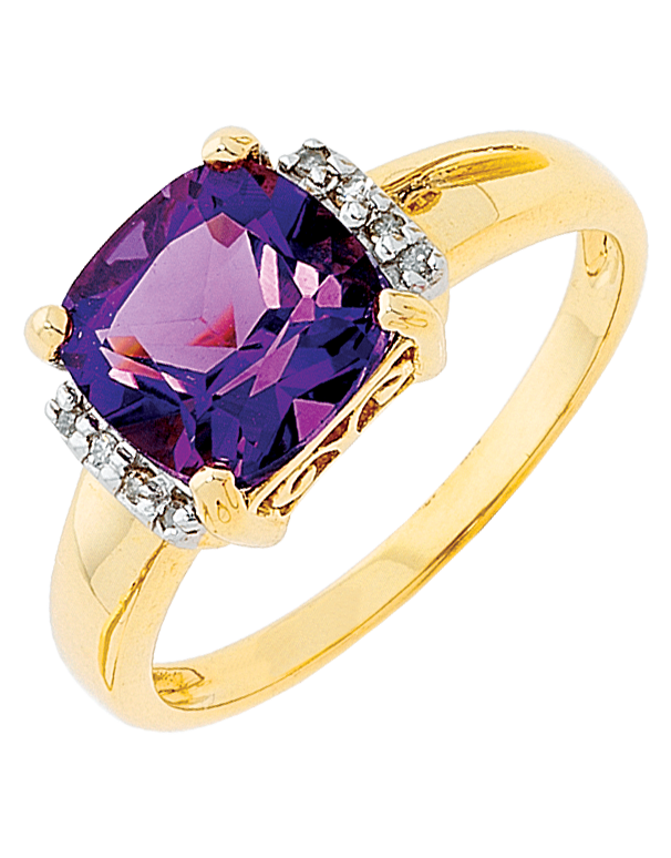 AMETHYST RING - YELLOW GOLD AMETHYST RING