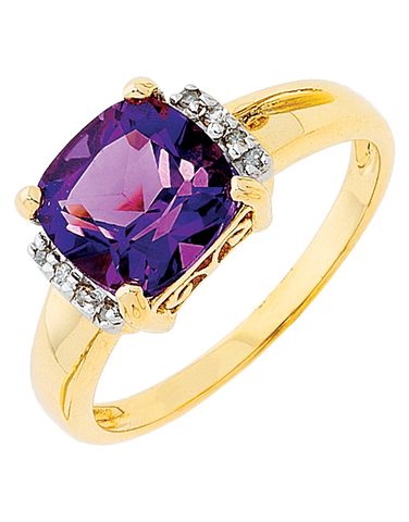 Amethyst Ring - Yellow Gold Amethyst & Diamond Ring - 707728