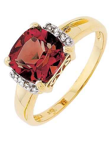 Garnet Ring - Yellow Gold Garnet & Diamond Ring - 707729