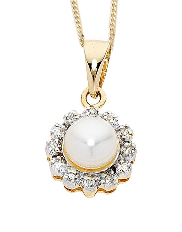 Pearl Pendant - Two Tone Diamond Set Pearl Pendant - 707743 - Salera's Melbourne, Victoria and Brisbane, Queensland Australia