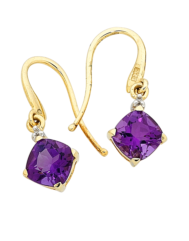 Amethyst Earrings - Yellow Gold Amethyst and Diamond Earrings - 707757 - Salera's