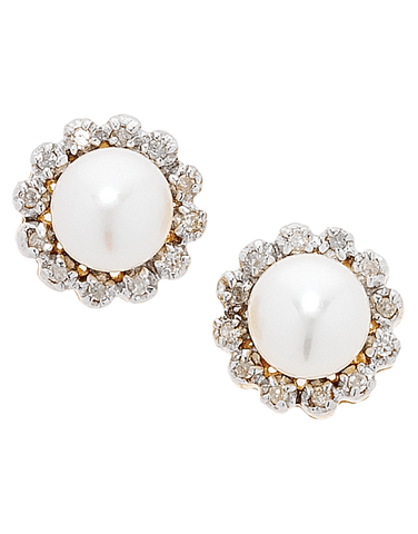 Pearl Earrings - Two Tone Gold Diamond Set Pearl Studs - 707761