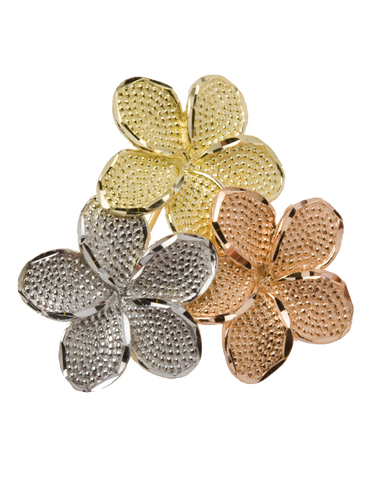 Gold Brooch - 9ct Three Tone Flower Brooch - 710098