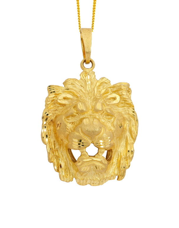 Men's Pendant - Yellow Gold Lion's Head Pendant - 710147 - Salera's