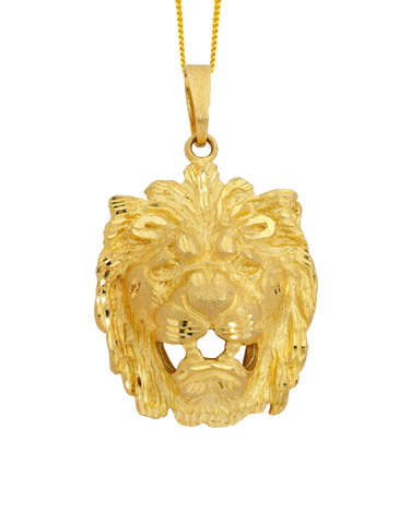 Men's Pendant - Yellow Gold Lion's Head Pendant - 710147