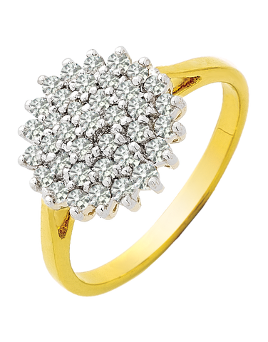 Diamond Ring - Two Tone Gold Diamond Ring - 710346