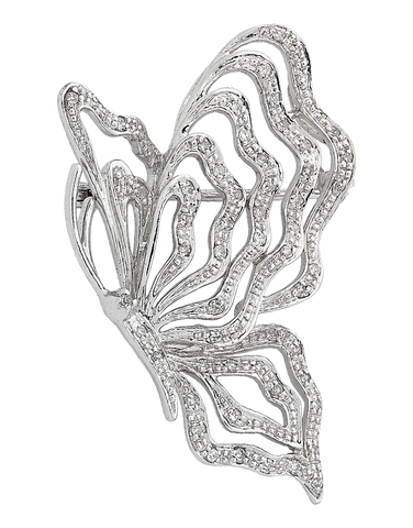 Diamond Brooch - Diamond Set Butterfly Brooch - 710673
