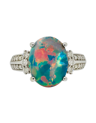 Opal and Diamond Ring - 18ct White Gold Opal and Diamond Ring - 712506