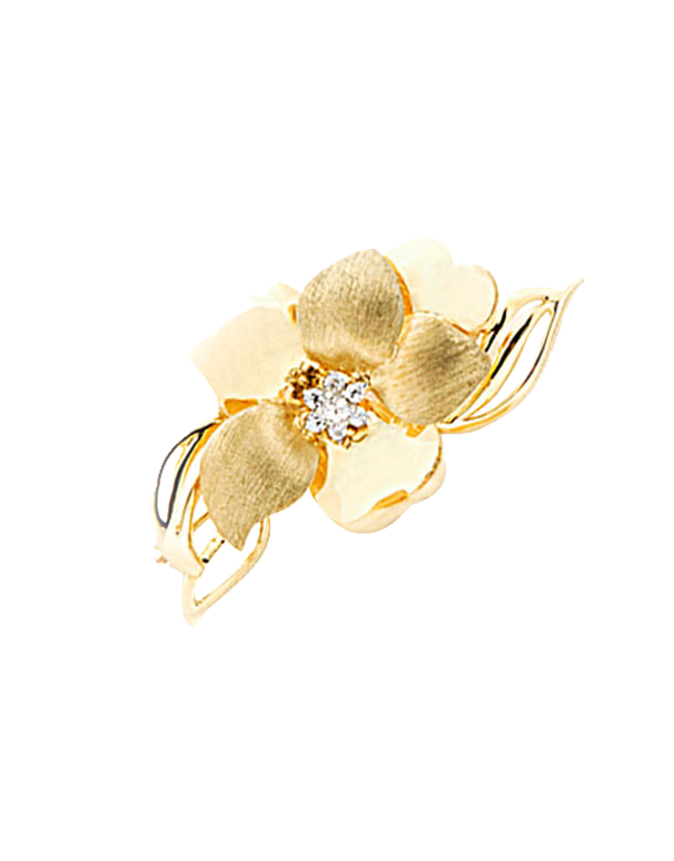 Gold Brooch - 9ct Yellow Gold Flower Brooch with CZ - 741245 - Salera's Melbourne, Victoria and Brisbane, Queensland Australia