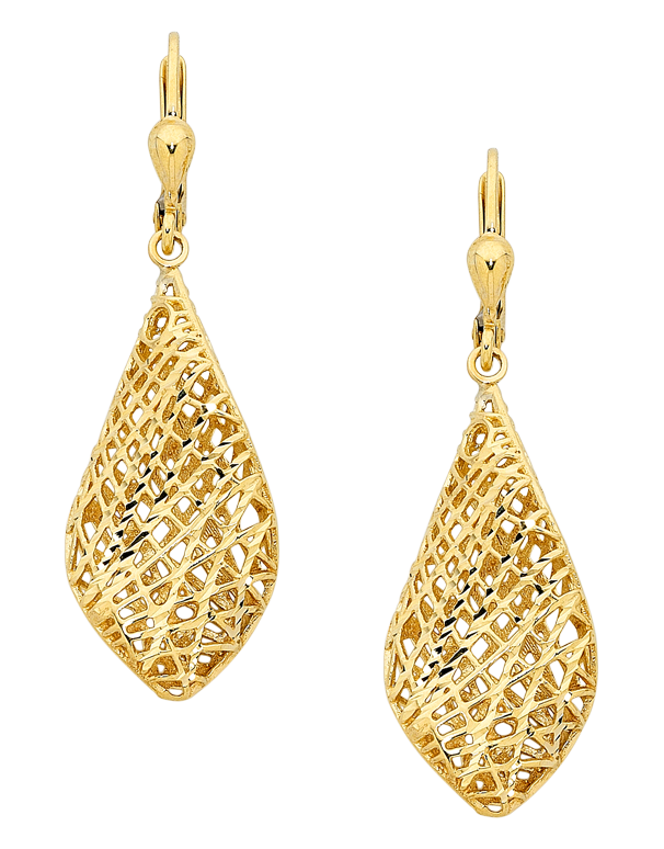 Gold Earrings - 9ct Yellow Gold Mesh Drop Earrings - 741658 - Salera's Melbourne, Victoria and Brisbane, Queensland Australia - 1