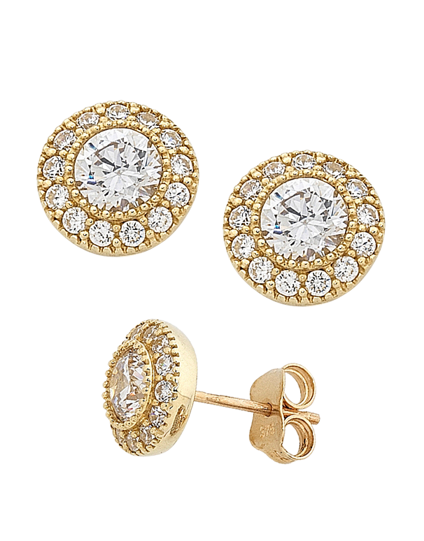 CZ Studs - 9ct Yellow Gold Cubic Zirconia Stud Earrings - 741690 - Salera's Melbourne, Victoria and Brisbane, Queensland Australia
