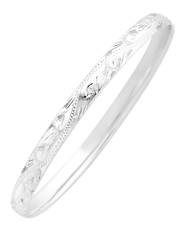 8d4cb598875b6 Silver Bangle - Sterling Silver 6mm Engraved Solid Bangle - 741763