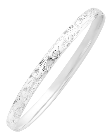 Silver Bangle - Sterling Silver 6mm Engraved Solid Bangle - 741763