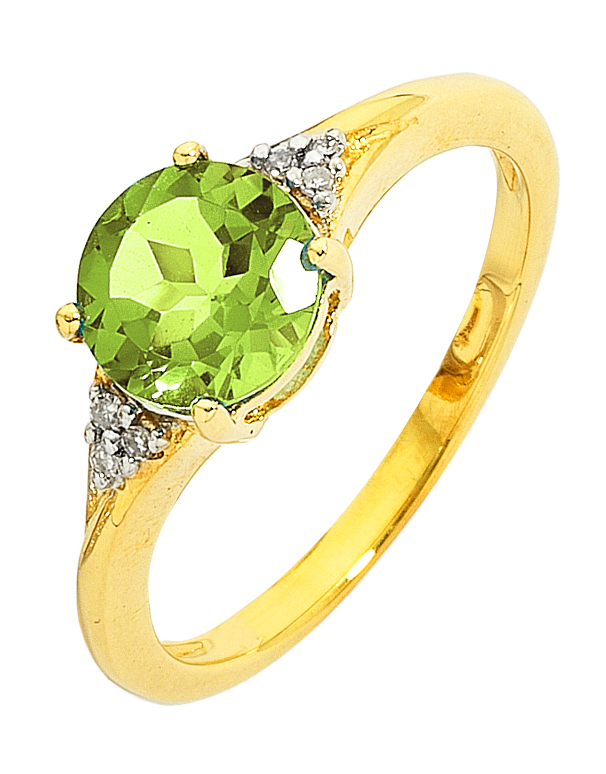 Peridot Ring - Yellow Gold Peridot And Diamond Ring - 743120 - Salera's Melbourne, Victoria and Brisbane, Queensland Australia