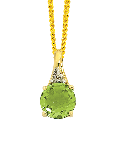 Peridot Pendant - Yellow Gold Peridot And Diamond Pendant - 743124