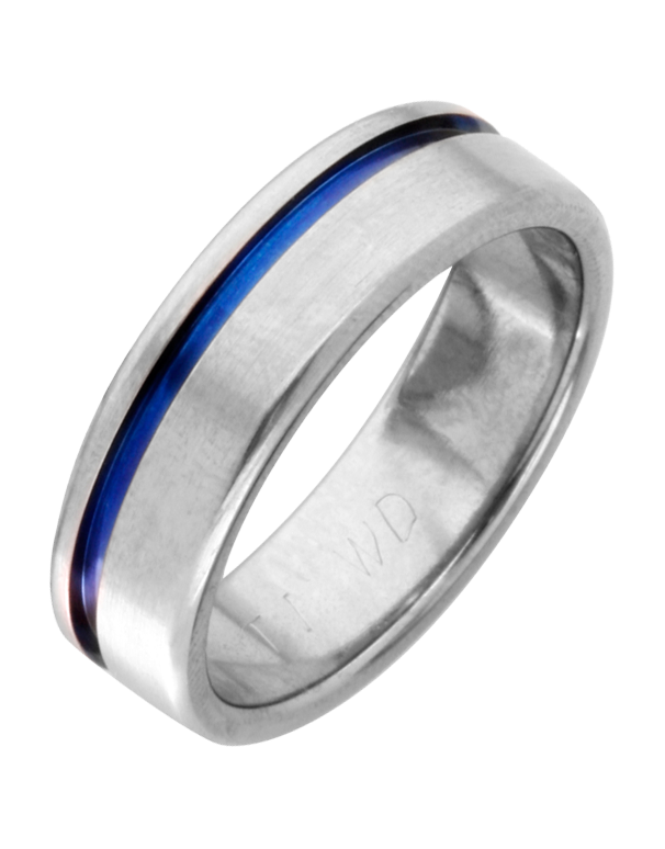 Wedding Band - Men's Titanium Wedding Band with Blue Strip - 744349 - Salera's Melbourne, Victoria and Brisbane, Queensland Australia