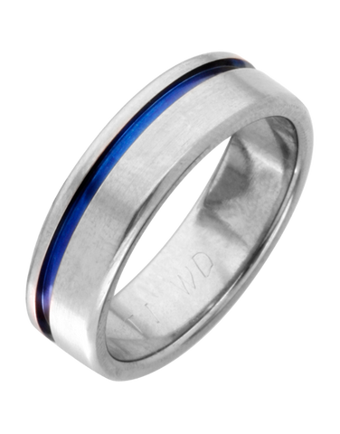 Wedding Band - Men's Titanium Wedding Band with Blue Strip - 744349