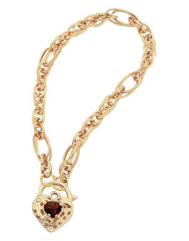 Gold Bracelet - Yellow Gold Garnet Padlock Bracelet - 744575 - Salera's Melbourne, Victoria and Brisbane, Queensland Australia