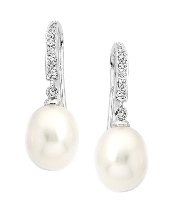 Pearl Earrings - Sterling Silver Pearl and CZ Earrings - 744582 - Salera's Melbourne, Victoria and Brisbane, Queensland Australia