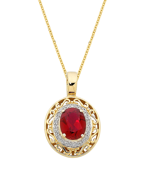 Ruby Pendant - 9ct Yellow Gold Ruby and Diamond Enhancer Pendant - 744949 - Salera's