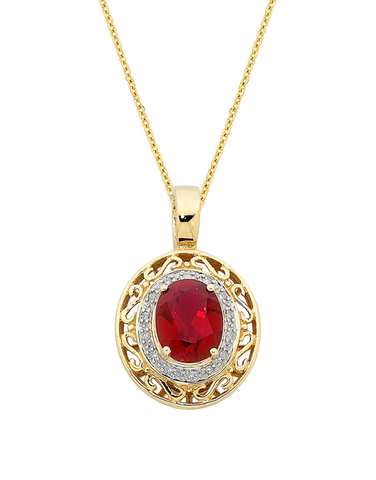 Ruby Pendant - 9ct Yellow Gold Ruby and Diamond Enhancer Pendant - 744949