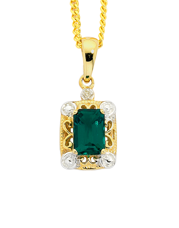 Emerald Pendant - 9ct Yellow Gold Emerald and Diamond Pendant - 744951 - Salera's Melbourne, Victoria and Brisbane, Queensland Australia