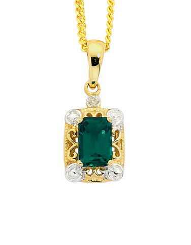 Emerald Pendant - 9ct Yellow Gold Emerald and Diamond Pendant - 744951