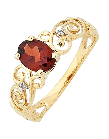 Garnet Ring - Yellow Gold Garnet and Diamond Ring - 744965
