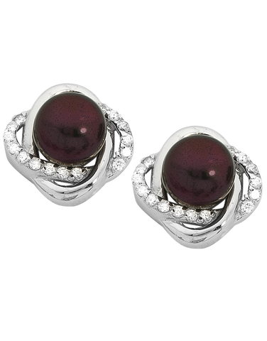 Pearl Earrings - Sterling Silver Black Pearl & CZ Earrings - 745070